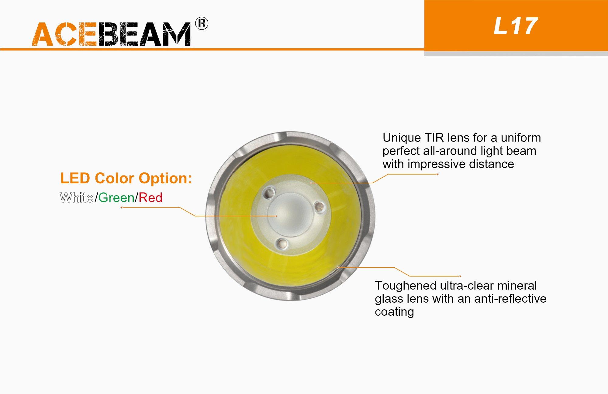 ACEBEAM L17 Linterna port/átil de largo alcance de litio individual 18650 etc. polic/ía militar luz blanca 802 metros adecuada para b/úsqueda 1400 l/úmenes